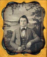 Alfred L. Boisseau, unidentified man in front of Studio backdrop, Cleveland, Ohio, 1855