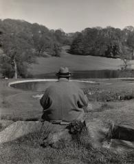 Winston Churchill with his poodle, Rufus, in the gardens of his Chartwell estate, 1951